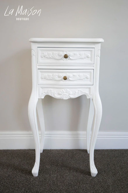 Louis Bedside Table Antique White In 2020 Antique Bedside