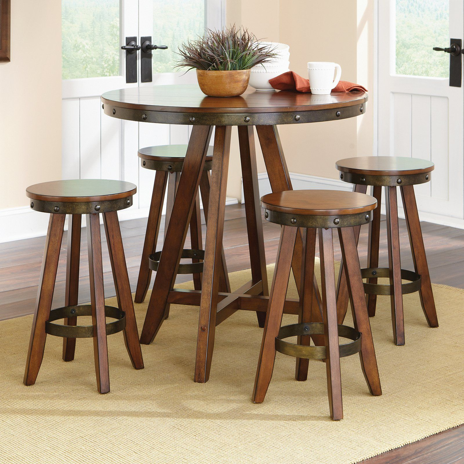 Sauder Carson Forge 5 Piece Counter Height Dining Table Set  From Best Counter Height Dining Room Decorating Design
