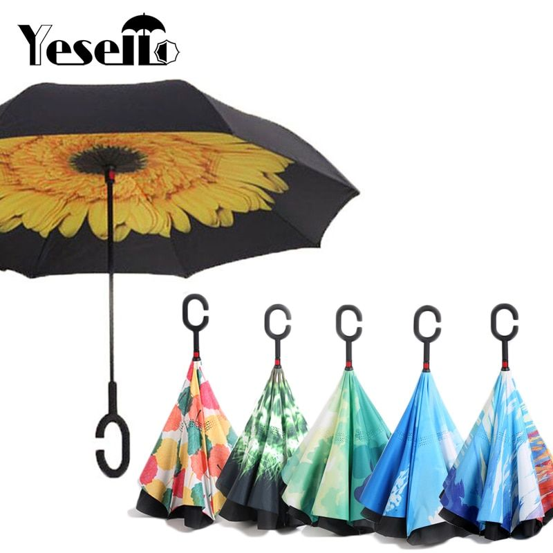 36 34 Awesome Drop Shipping Reverse Umbrellas Folding Double Layer Inverted C Hand Holder Stand Rain Windproof Windproof Umbrella Umbrella Fishing Umbrella
