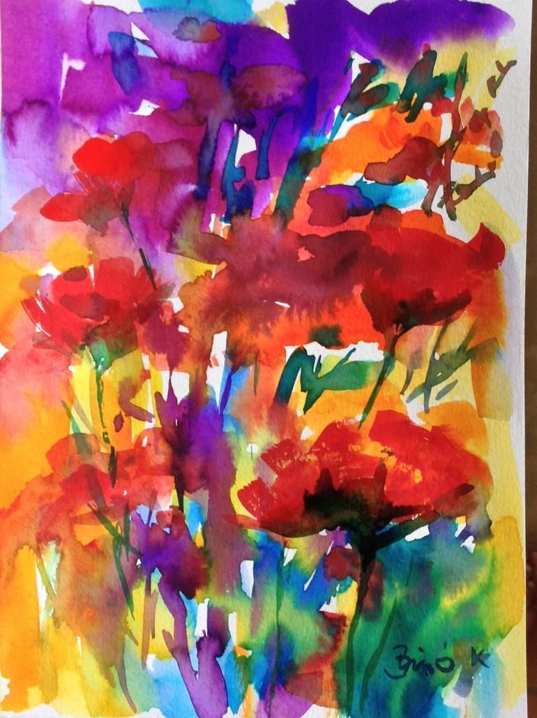 Buy Wonderful Flowers A Watercolor Painting On Paper By Konrad