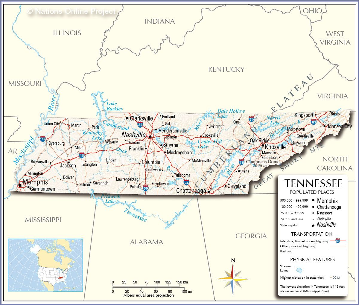State Map Of Tennessee With Cities.Map Of Tennessee With Cities Reference Map Of Tennessee Usa