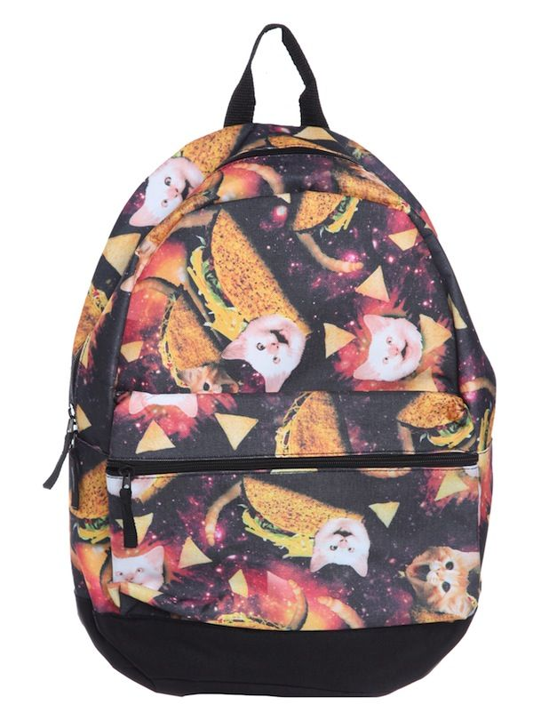 7736bd919f Taco cats in space backpack. Gloriously weird.