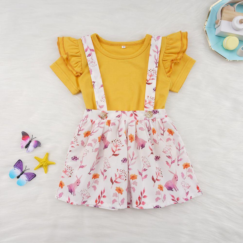 Newborn Kids Baby Girl Flower Outfits Clothes T-shirt Tops+Skirt Shorts 2PCS Set