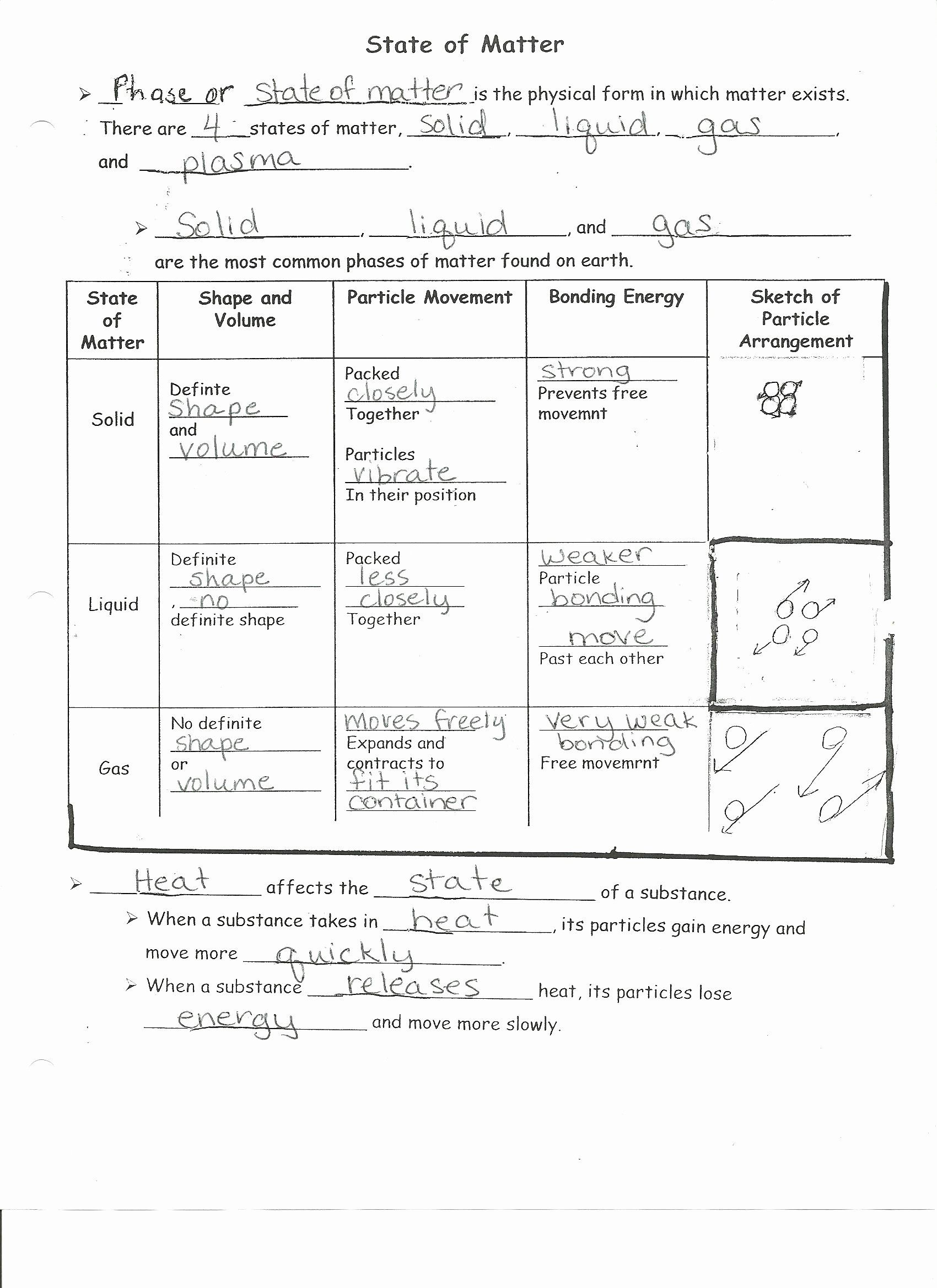Matter And Energy Worksheet Lovely Worksheet States Matter