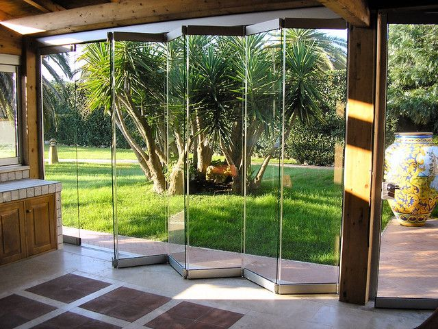 Contemporary Natural Accordion Glass Door Design With