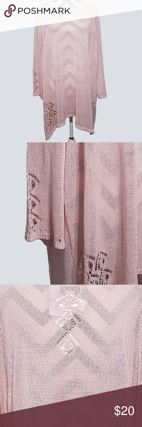 81cd605247b CJ Banks Pink Eyelet Sweater 3 4 Sleeve 3X CJ Banks Womens Sweater 3X Pink  Knit Lace Eyelet 3 4 Sleeve New with tags Seam to seam across chest  28