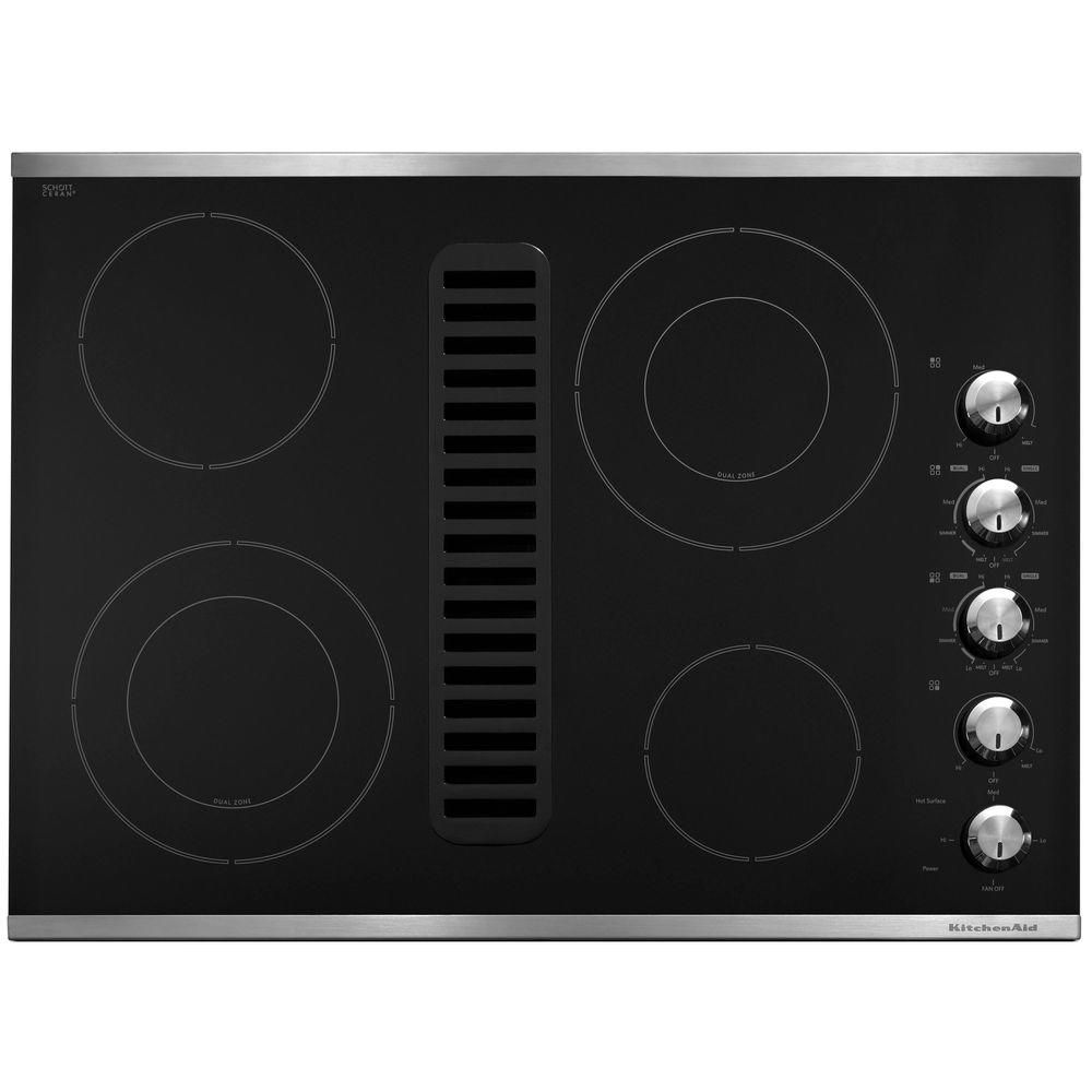 Kitchenaid 30 In Downdraft Vent Ceramic Glass Electric Cooktop In Black With 4 Elements Including Double Ring Elements Kecd807xbl Electric Cooktop Downdraft Cooktop Ceramic Cooktop