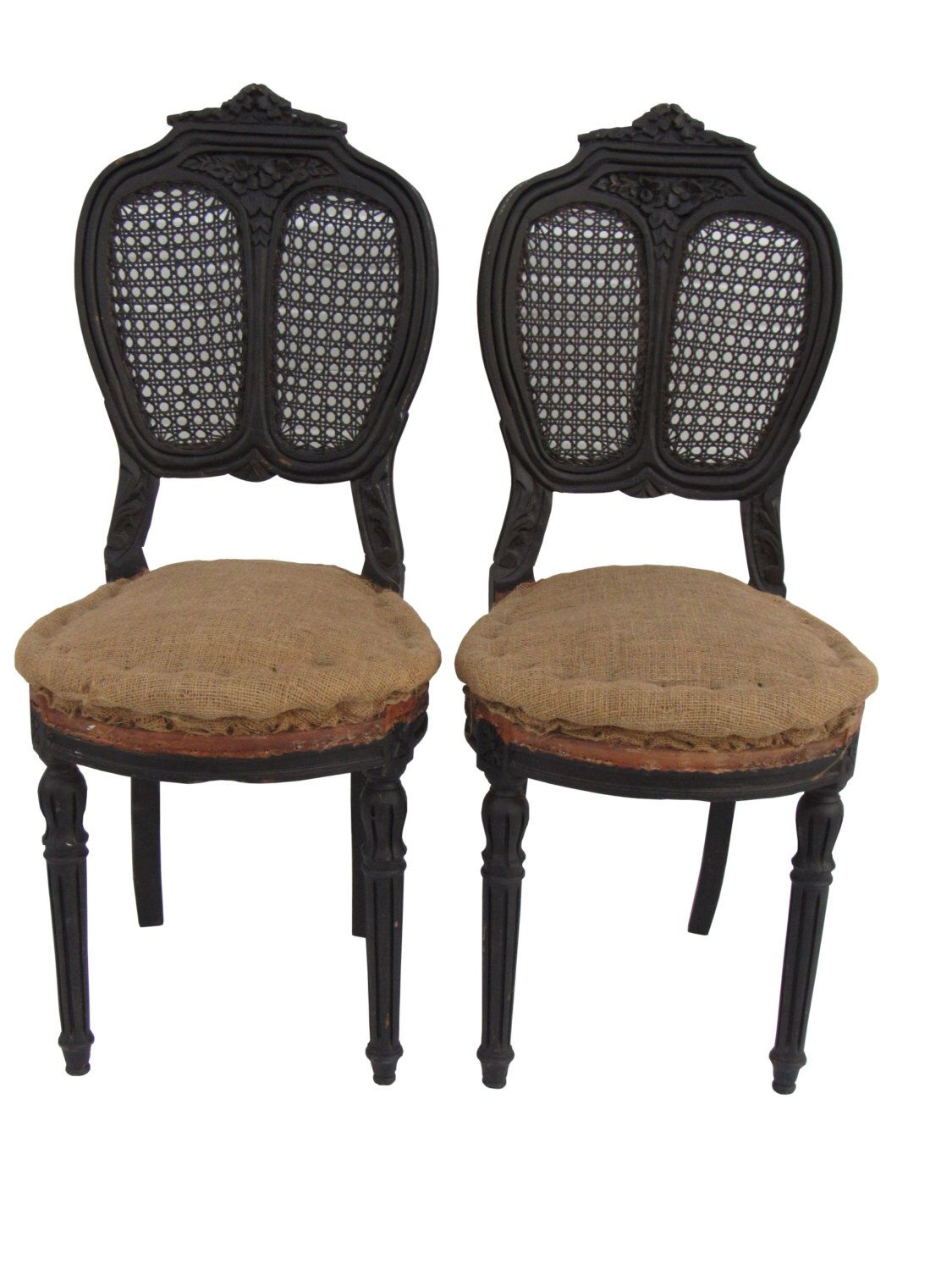 Antique Pair French Carved/Caned Chairs Antique French Chairs Paris  Apartment Chairs Deconstructed Chairs Upholstered