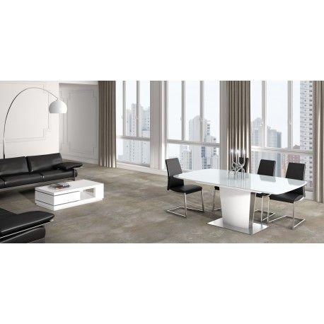 Mesa de comedor moderna extensible con cristal blanco Mesas de