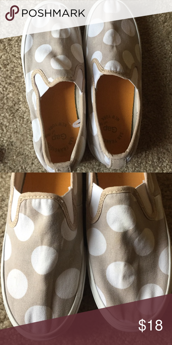 Gap shoes Gap slip on tan and white polka dot shoes. Size 7. They have been worn, but are still in great condition. They are comfortable and go with anything!! Gap Shoes Sandals