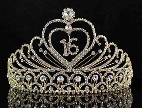 New Janefashions Sweet Sixteen Years Old 16 16th Birthday Party Austrian Rhinestone Crystal Princess Tiara Crown With Hair Combs Jewelry T1629g Gold online - Youllfindoffer