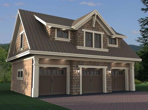 023G-0002: Craftsman Style, 3-Car Garage Apartment Plan ...
