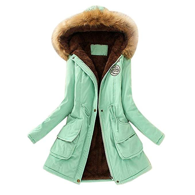 d01864d4ee Amazon.com: Clearance! Women Fashion Hoodie Long Parka Winter Coat with  Faux Fur Hood Slim Fit Down Jacket (Red, 2XL): Clothing