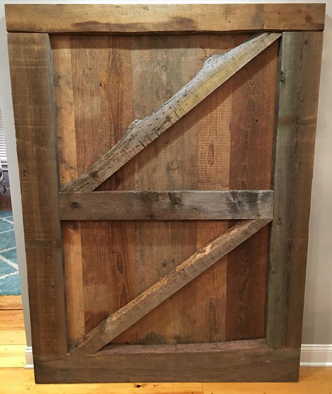 hereu0027s a closer look at our gorgeous double zbrace barn door made from reclaimed wood