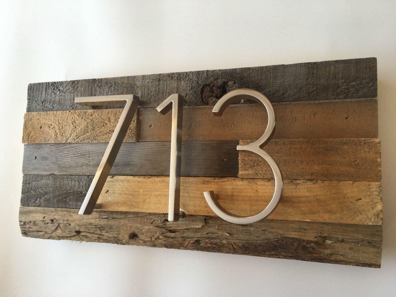 Reclaimed wood Address Plaque decor custom