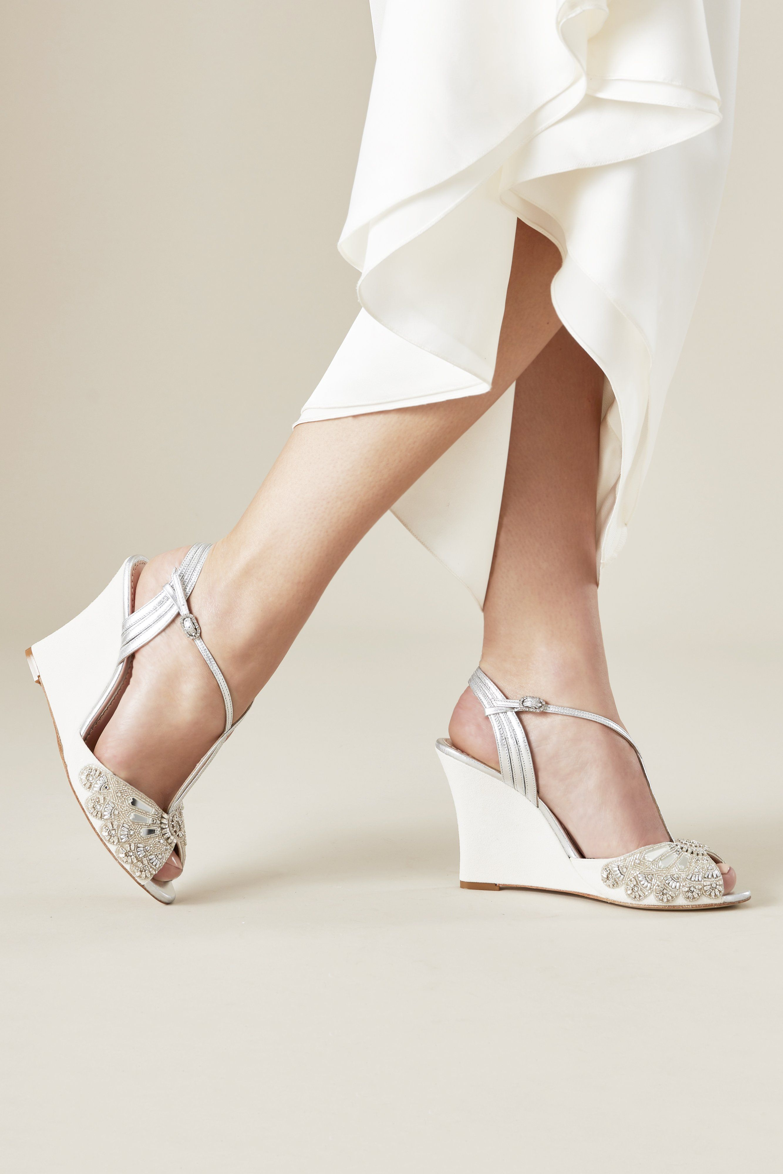 9bacddc4f Evelyn Ivory Bridal Shoes Hand Beaded Wedge Bridal Sandals by Emmy London