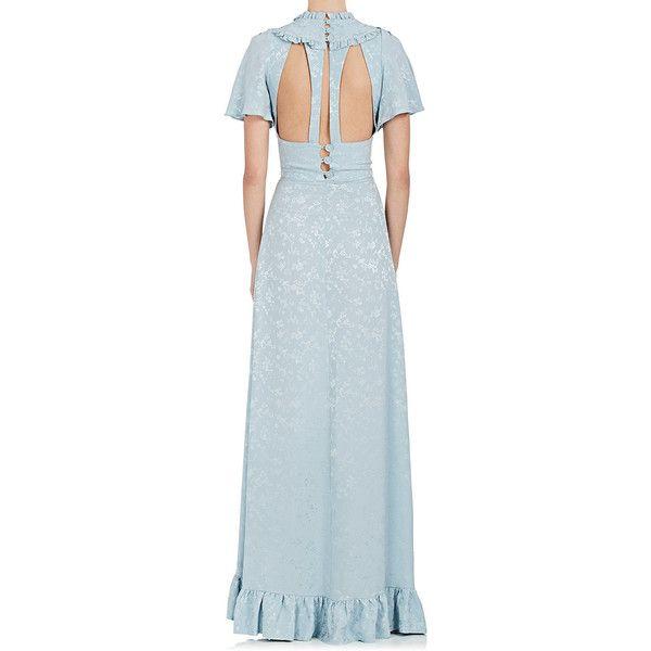 Womens Ruffle Floral Silk Jacquard Gown Maison Mayle XqyRB