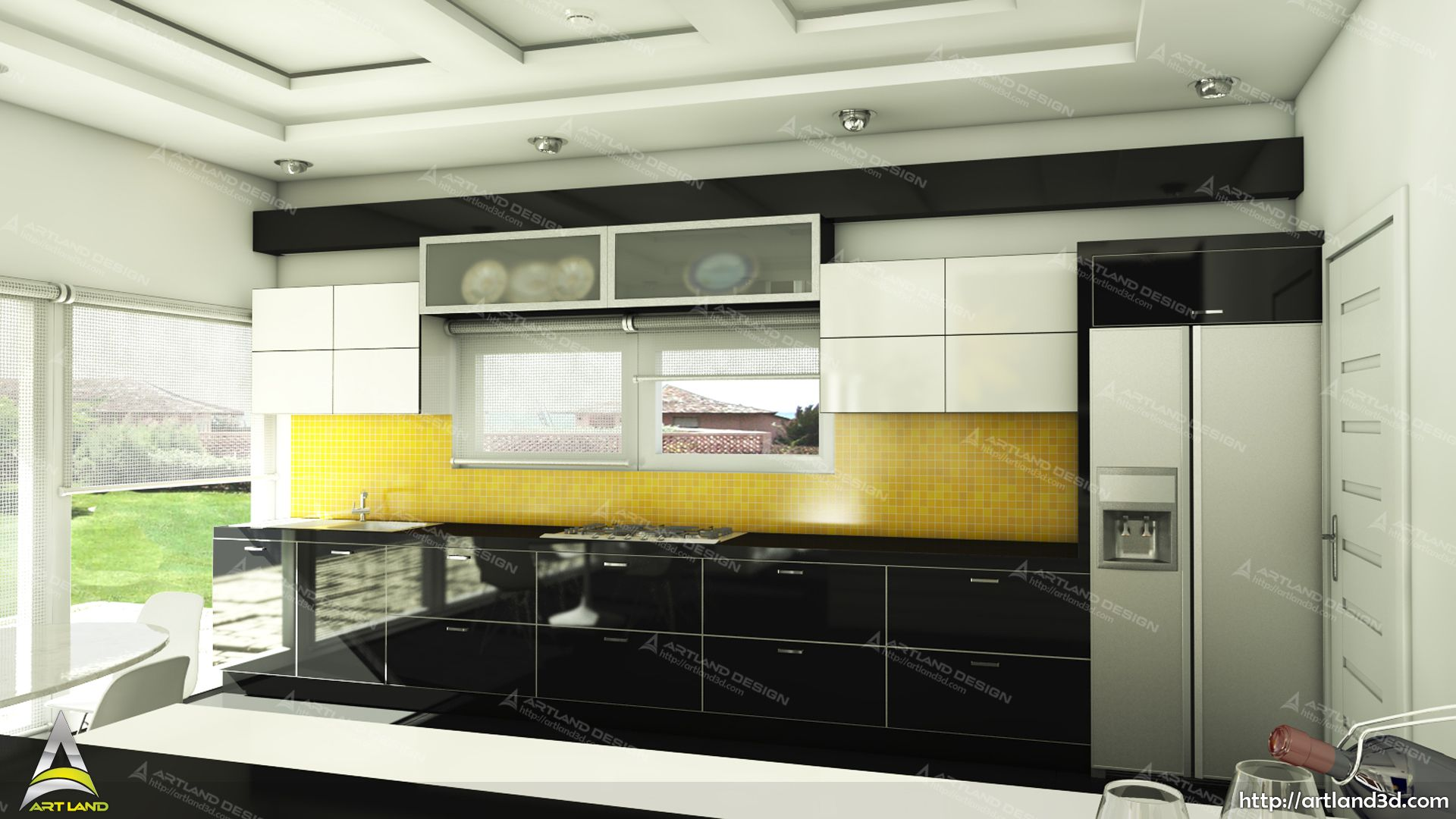 Kitchen Design 3d Model Modern Kitchen 3d Modeling Black And White With A Pop Of Colour 3d