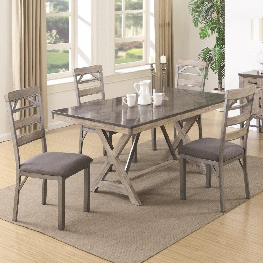 Coaster Edmonton Dining Table Set With Bluestone Laminate Top In