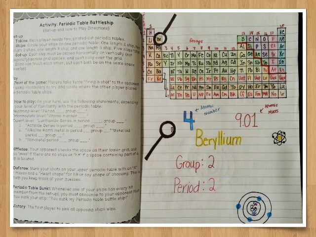 Periodic Table Battleship Game Activity Handout Matter and - new periodic table another name for group
