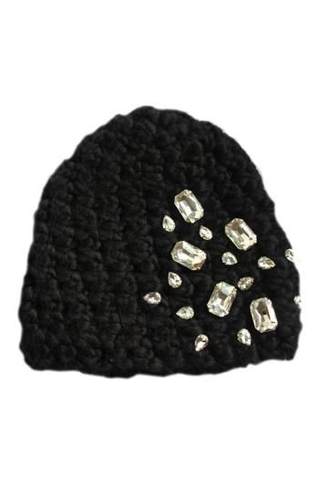 2d3431de590  Handmade  hat embellished with oversized glass  rhinestones. When the  weather gets cold you can still be chic in this eye catching hat. Wear all  winter ...