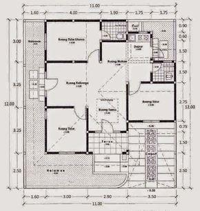denah rumah sederhana 1 lantai 3 kamar tidur   denah rumah