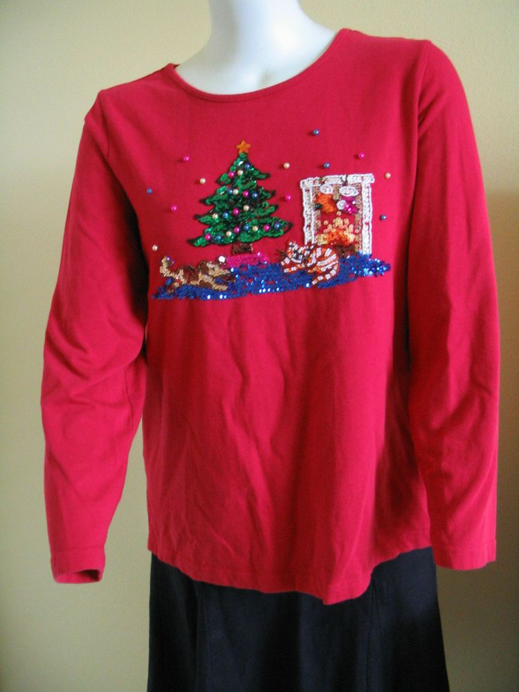 QUACKER FACTORY Size XL Womens Red Christmas Knit Top blouse Beads Sequins  #QuackerFactory #KnitTopTShirt #Casual