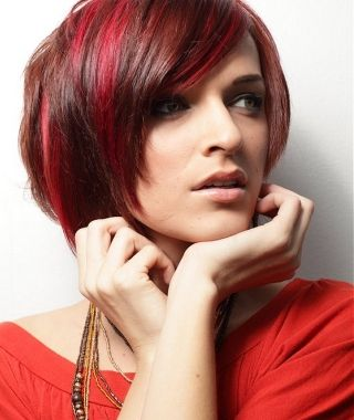 A medium red straight coloured bob hairstyle by Web Collections