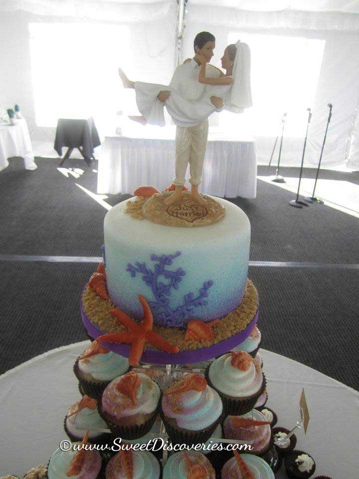 beach wedding cakes with cupcakes cupcake wedding cakes wedding cake 11188