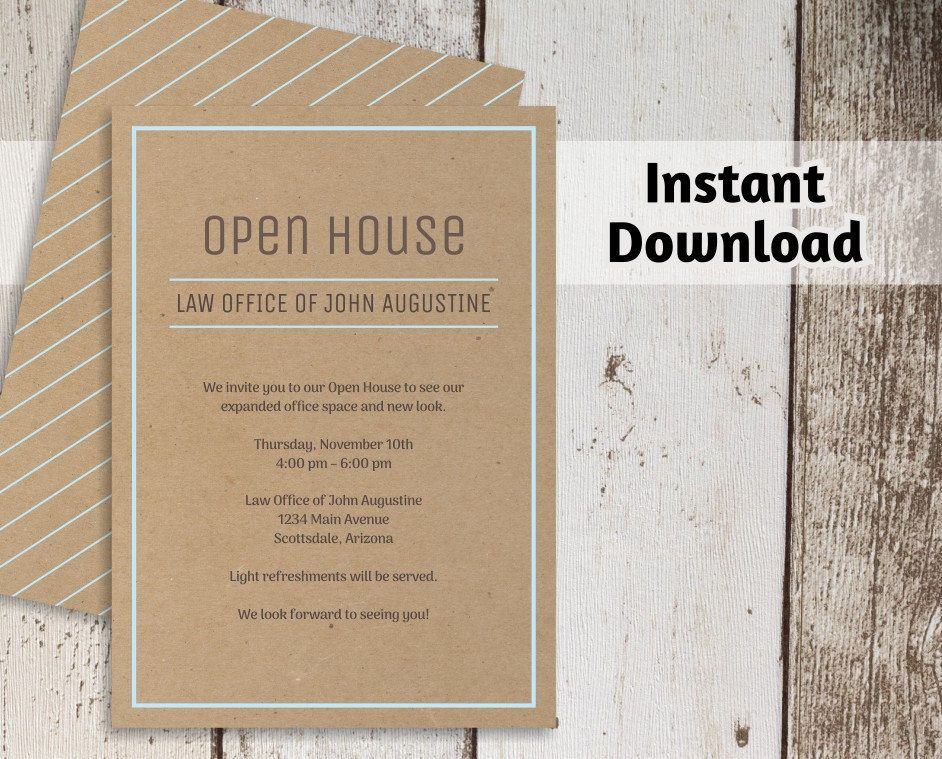 Printable business invitation template open house business launch printable business invitation template open house business launch networking invitation on kraft paper instant wajeb Images