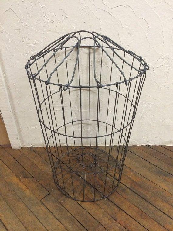 Vintage Wire Laundry Basket Hamper Industrial By Eddysmercantile