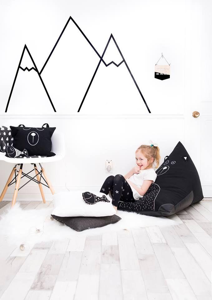 Black And White Decor Scandinavian Inspiration Bear Bean Bag Pillow By Cyan