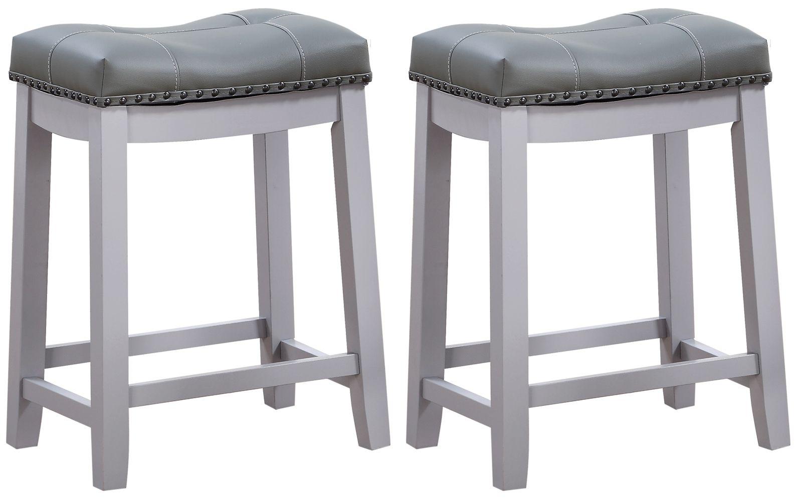 Angel Line Cambridge 24 Padded Saddle Stool Gray W Gray Cushion Set Of 2 Walmart Com Bar Stools Saddle Stools Grey Cushions