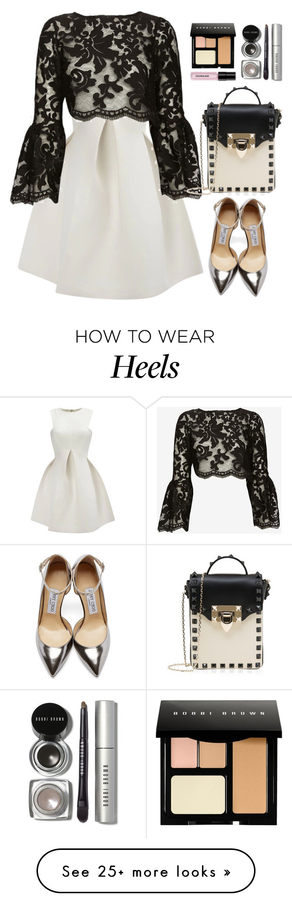 """Alexis bell sleeve top"" by thestyleartisan on Polyvore featuring мода, Alexis, Valentino, Jimmy Choo, Bobbi Brown Cosmetics, Hourglass Cosmetics и bellsleevedress"