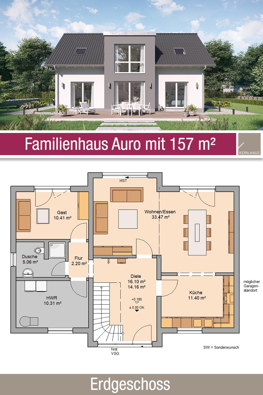 Familienhaus Grundriss 157 m² 6 Zimmer Erdgeschoss