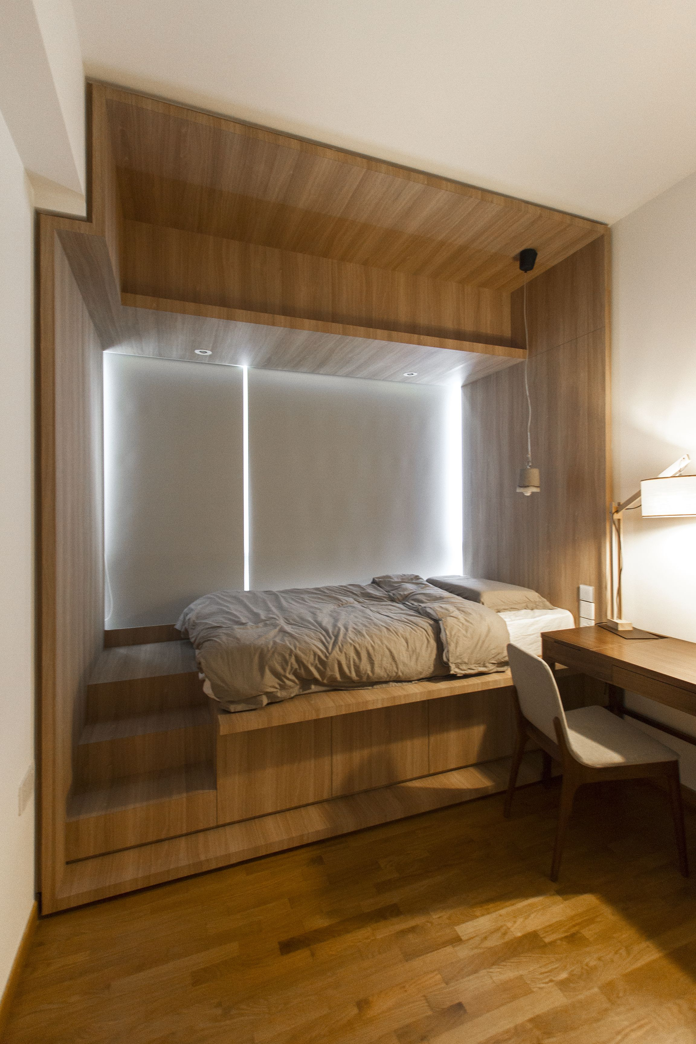 Bedroom ideas window behind bed  ao studiosthe minton apartment bed platform singapore  bedrooms