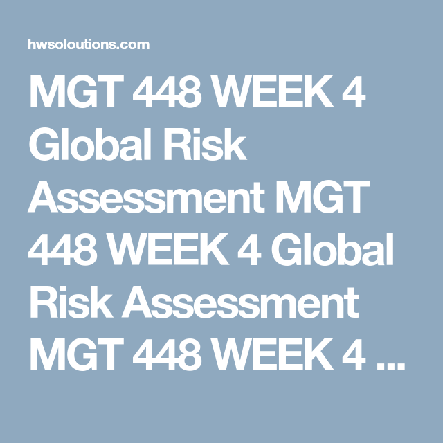 Mgt  Week  Global Risk Assessment Mgt  Week  Global Risk