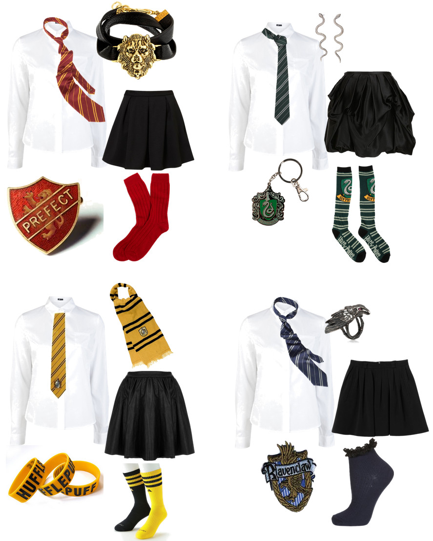 Hogwarts House outfits. Created with Polyvore.  Harry potter