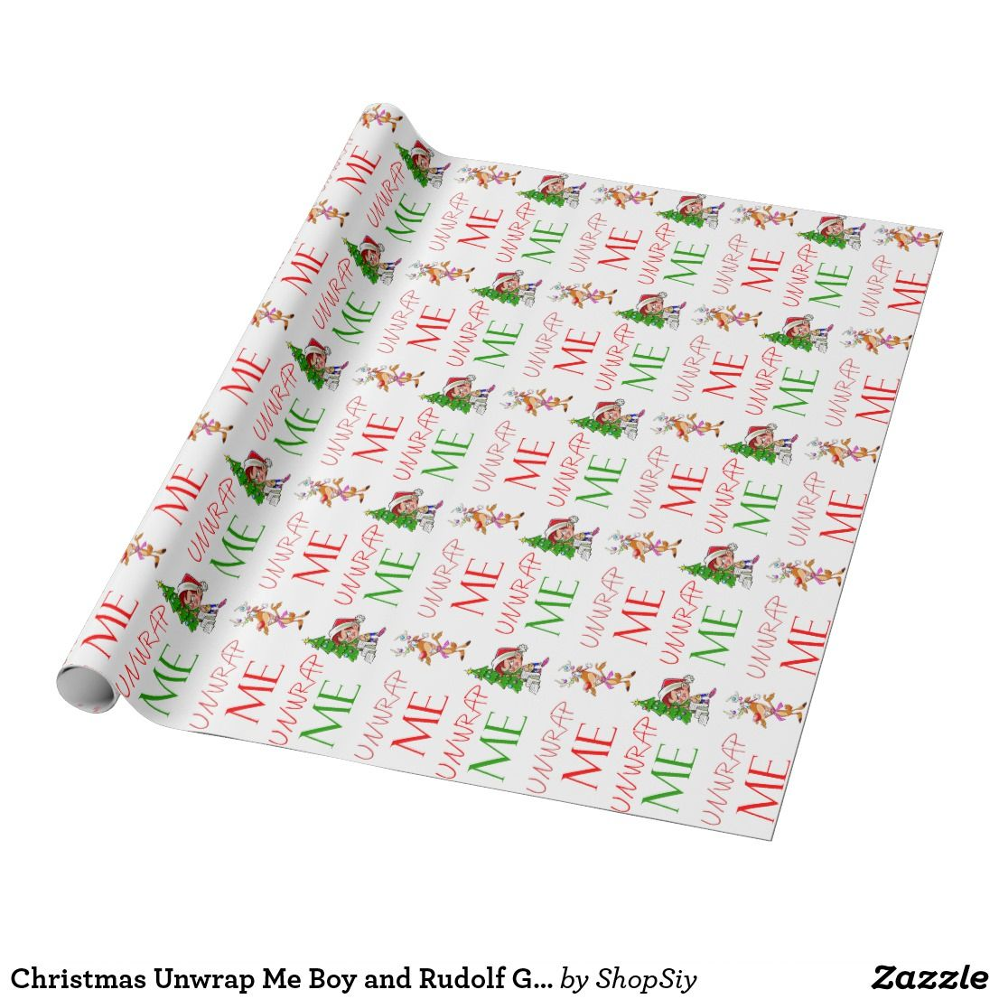 Christmas Unwrap Me Boy And Rudolf Gift Wrap Zazzle Ca Christmas Gift Shop Gift Wrapping Custom Wrapping Paper