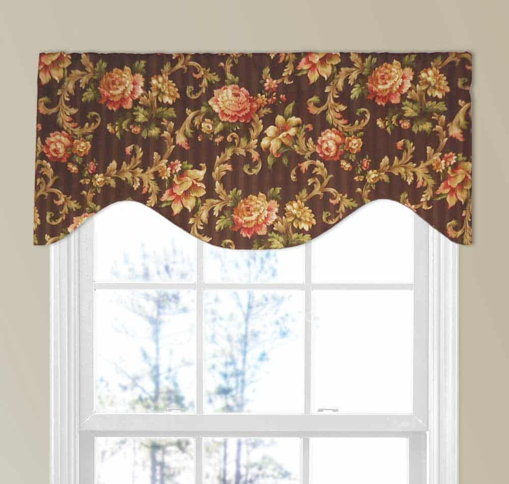 Brown And Pink Scroll Valance On Damask Stripe Custom Valances
