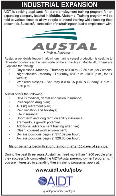 Austal Jobs In Mobile Alabama Alabama Training Programs Job