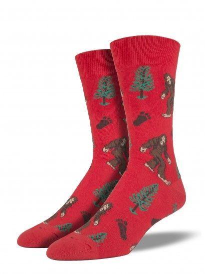 Men's Crew Novelty Socks Bigfoot Sasquatch