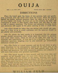 Original Ouija Board Directions