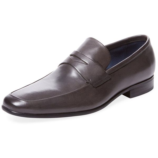 Rush by Gordon Rush Men's Leather Penny Loafer - Grey - Size 10 ($99) ❤ liked on Polyvore featuring men's fashion, men's shoes, men's loafers, grey, mens loafers, mens leather loafers, mens shoes, mens leather loafer shoes and mens grey loafers