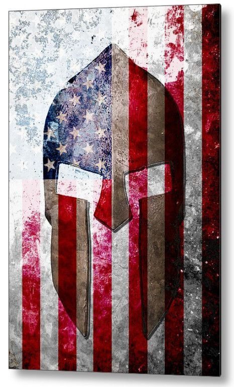 Spartan Helmet And American Flag On Distressed Metal Sheet Large Metal Print Spartan Helmet American Flag Print American Flag