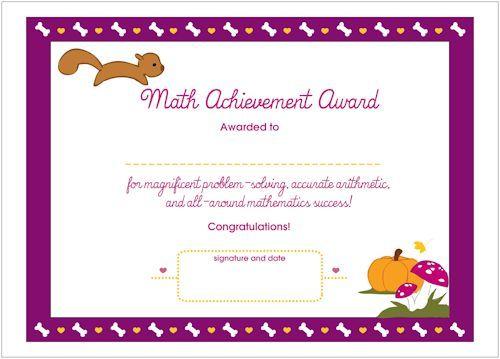 math achievement printable award certificate us spelling fun