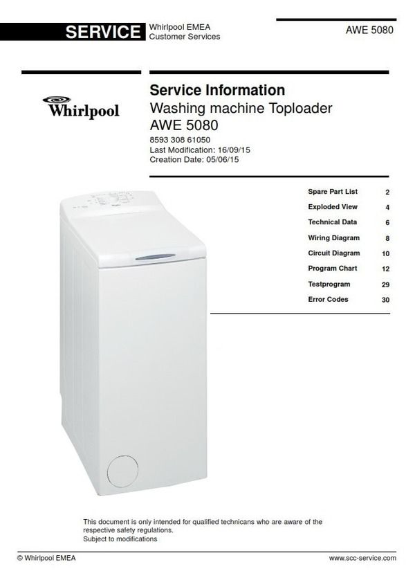 Whirlpool AWE 5080 Washing Machine Service Technicians
