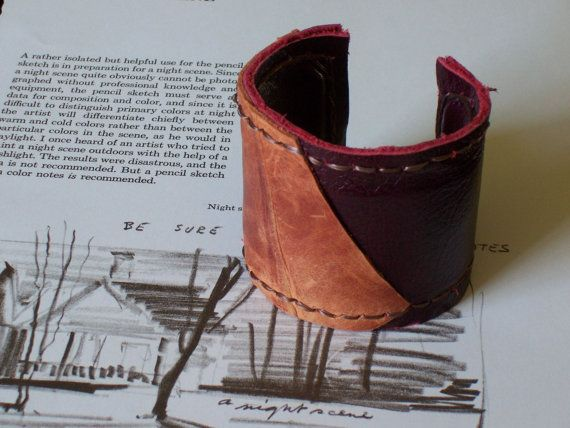 Camel Brown & Burgundy Red #Leather #Cuff Bracelet by beadbooty, $25.00