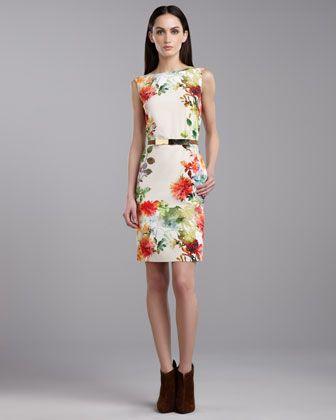 c3fd8b37bd St. John Collection Verbena-Print Stretch Sleeveless Dress   Belt - Neiman  Marcus