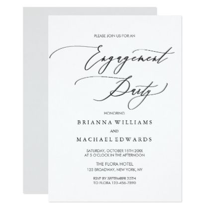 Simple Elegant Calligraphy Engagement Party Card  Script Gifts